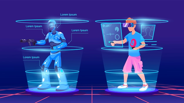 男と鎧のゲームで彼の仮想キャラクター。ビデオゲームのイラスト。バーチャルリアリティテクノロジースマートゲーム。ネオンスタイルの概念的なvrゲーム。仮想現実のヘッドセットを着ている男。