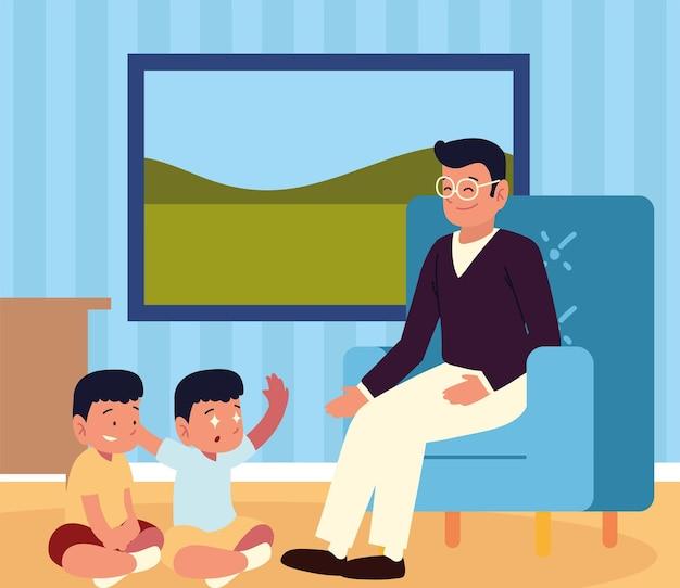 Мужчина и дети в комнате дома