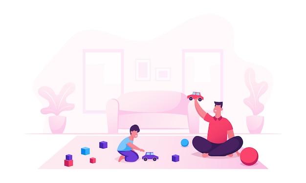 男と小さな男の子のゲームの楽しみ