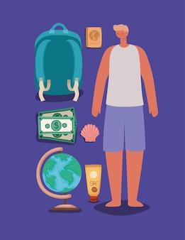 男と旅行の要素セット