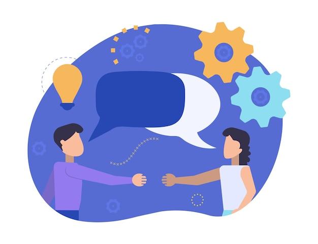 男と女が握手するために会っている。パートナーはコミュニケーションを取り、話します。ビジネスマンは、ニュース、ソーシャルネットワーク、チャット、対話の吹き出しについて話し合います。文字のベクトルイラスト。