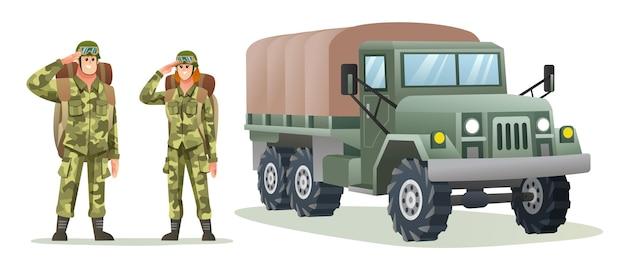 군용 트럭으로 배낭 캐릭터를 운반하는 남자와 여자 육군 군인