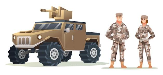 Мужчина и женщина солдат армии персонажей с иллюстрацией мультфильма военный автомобиль