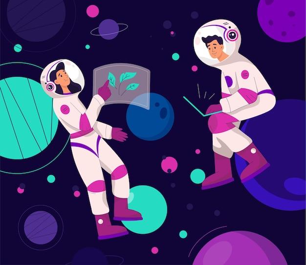 男性と女性の宇宙飛行士が抽象的なネオンの背景で飛んでいます