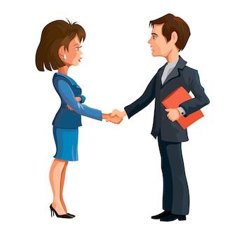 비즈니스 회의에서 남녀가 서서 악수를 합니다. 사업 협상. 만화 캐릭터. 외딴.