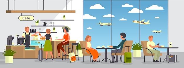空港のカフェで男女。飛行機のフードコートで荷物を食べる乗客。観光と交通のアイデア。