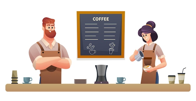 コーヒーショップのイラストで働く男女バリスタ