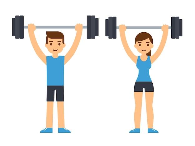 頭上にバーベルを持ち上げる男性と女性のボディービルダー。重量挙げのイラスト。フラットスタイルの漫画イラスト。