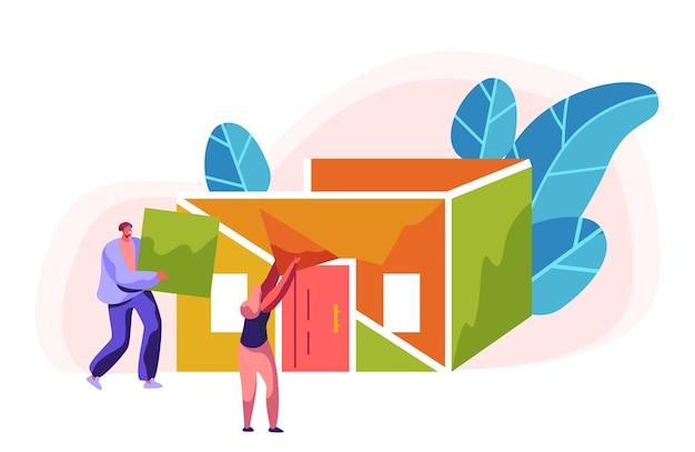 남자와 여자 작성기 건설 색상 집. 건물의 공정 설치 지붕. 헬멧의 사람 감독이 빌드 하우스의 새 부품 재료를 운반합니다. 플랫 만화 벡터 일러스트 레이션