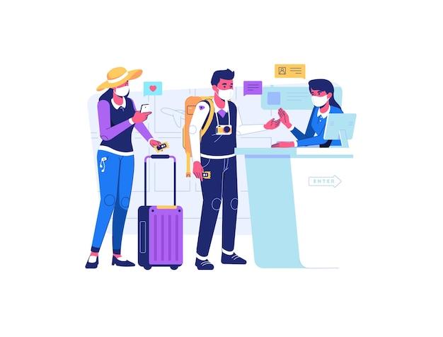 남자와 여자는 서비스 데스크에서 휴가를 위해 비행기 표를 구입
