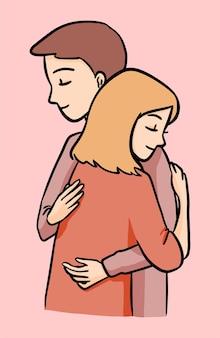 Мужчина и женщина спокойно обнимаются обнять симпатичные иллюстрации рисованной