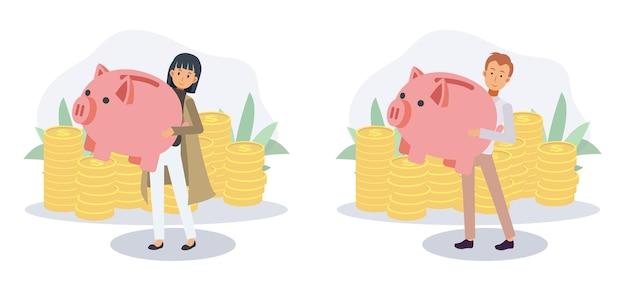 남자와 여자는 경제 목적으로 돈을 절약하기 위해 돼지 저금통을 나릅니다. 경제 및 재정적 독립, 돈 개념을 절약합니다. 평면 벡터 2d 만화 캐릭터 그림입니다.