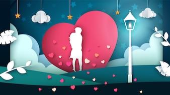 Man and woman cartoon illustration