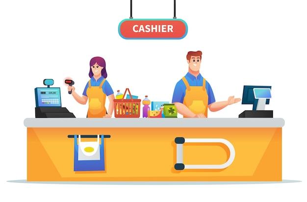 Мужчина и женщина-кассир, работающая на кассе супермаркета, изолированных иллюстрация