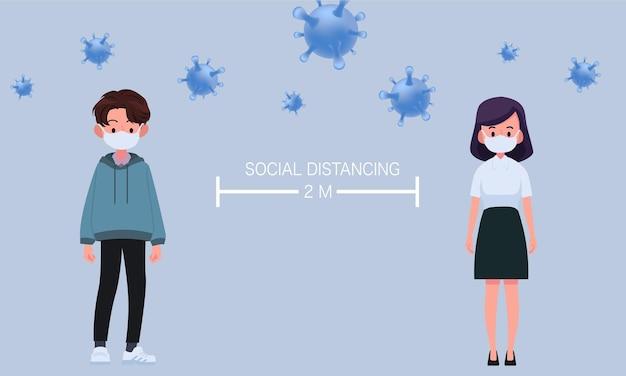 외과 용 또는 의료용 마스크를 착용 한 남녀 캐릭터는 바이러스 확산 및 독감 예방을 위해 사회적 거리를 유지합니다. 코로나 바이러스, 사회적 고립 및 자기 격리 개념.