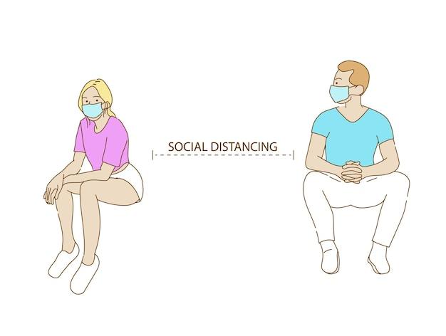 N95 마스크를 쓴 남성과 여성 캐릭터는 바이러스 확산과 독감 예방, 코로나바이러스, 사회적 고립, 자가 격리 개념을 방지하기 위해 사회적 거리를 유지합니다.