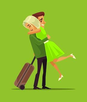 Мужчина и женщина встречают астры в деловой поездке. семья влюбленных вектор