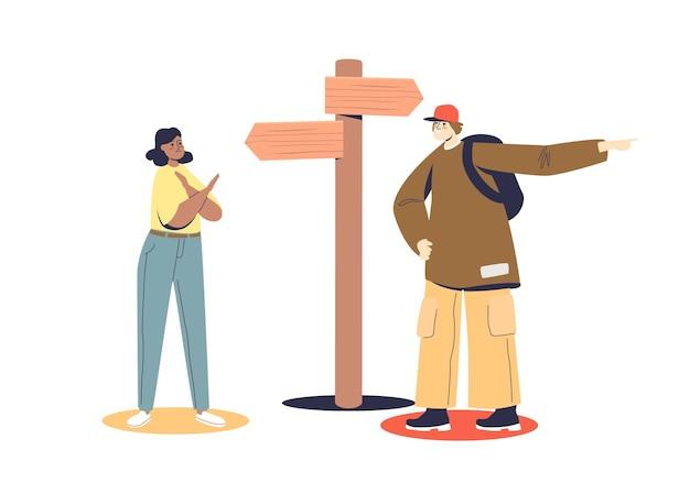 남자와 여자 도로 표지판에 화살표가있는 사거리에 서있는 방향을 선택합니다. 잘못된 의사 결정 개념.