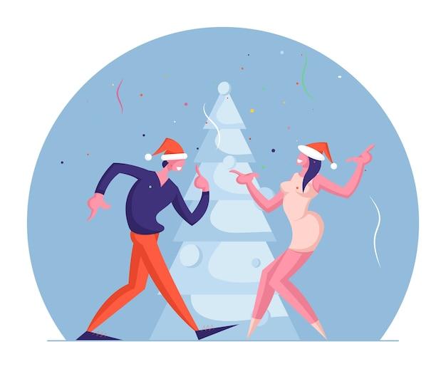 새해 휴일 이벤트에 재미 남자와 여자 커플