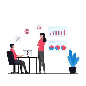 남자와 여자는 사무실 활동에 대한 대상 및 인포 그래픽 은유에 대해 토론합니다.