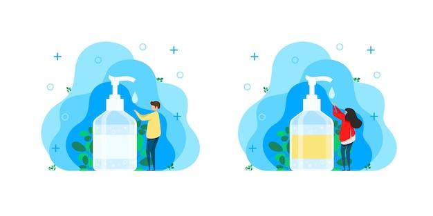 男性と女性は手指消毒剤で手を消毒します。バクテリアや細菌を殺すための消毒剤またはハンドソープ。手の治療、手脱脂剤付きの隔離されたボトル