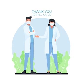 Мужчина и женщина-врач стоят с текстом спасибо