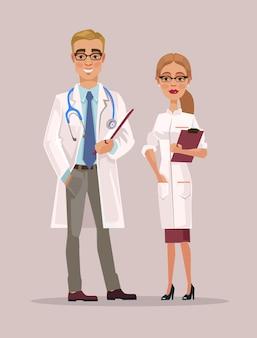 Мужчина и женщина врачи персонажей