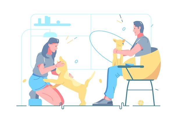 Мужчина и женщина собак владельцев домашних животных векторные иллюстрации. плоский стиль отношений между людьми и домашними животными. грумер для собак, салон для домашних животных, ветеринар и концепция лучших друзей. изолированные на белом фоне