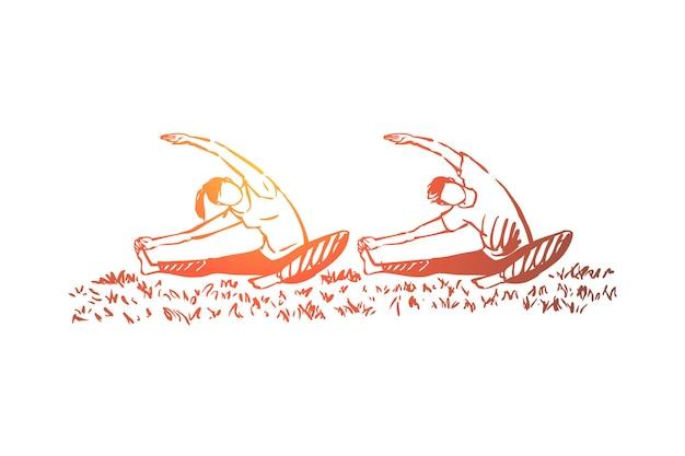 一緒にフィットネスをしている男性と女性、柔軟性運動イラスト