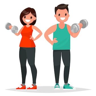 Мужчина и женщина, одетые в спортивную одежду, делают упражнения с гантелями