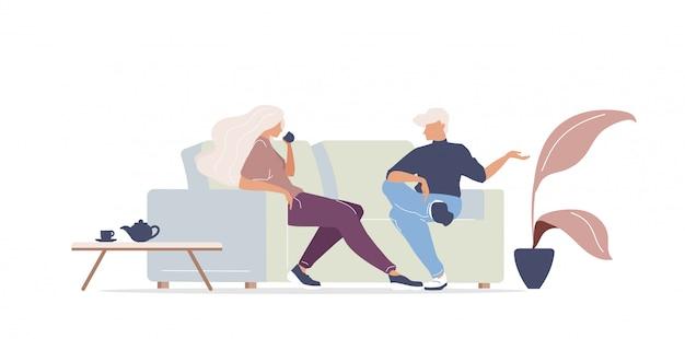 Мужчина и женщина пьют кофе цвета безликих персонажей