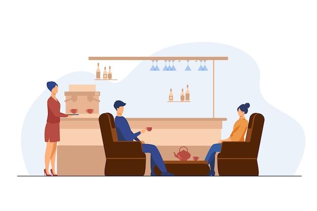 カフェでお茶を飲む男女。ガラス、アームチェア、カップフラットベクトルイラスト。レジャーと都会のライフスタイルのコンセプト