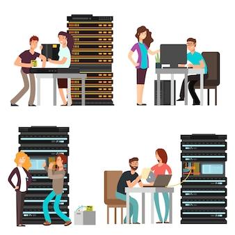 남자와 여자 엔지니어, 서버 룸에서 일하는 기술자