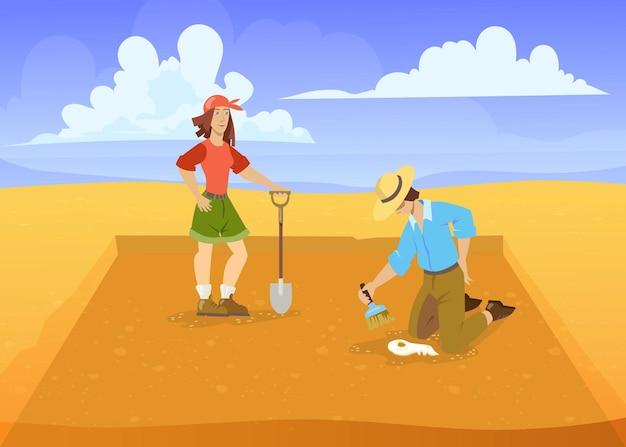 Мужчина и женщина, раскапывающие в пустыне. векторные иллюстрации шаржа