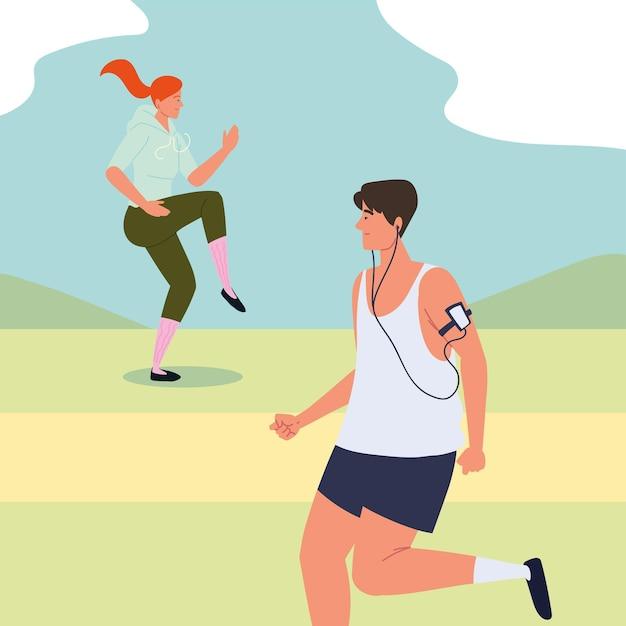 アウトドアで運動する男女