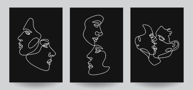 Композиции для мужчин и женщин, обложки с линейными векторными иллюстрациями