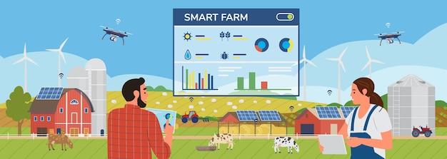 특별 앱으로 농장을 관리하는 태블릿을 들고있는 남자와 여자 농부