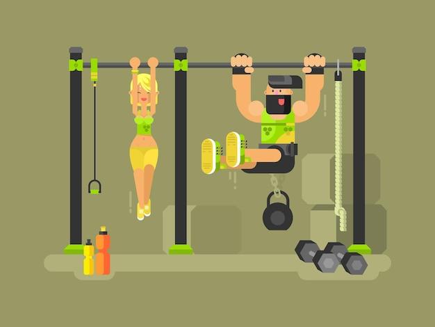 男性と女性のフィットネス。スポーツトレーニング、エクササイズトレーニング、ジムのイラスト