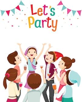 男と女のパーティーで楽しく幸せ