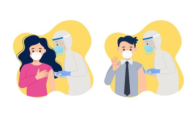 Мужчина и женщина получают выстрел от медицинского персонала covid19 вакцины картинки плоский векторный мультфильм дизайн