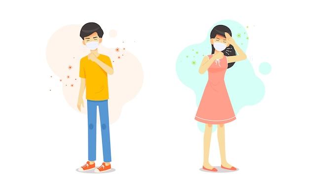 Мужчина и женщина болеют головной болью и чихают от кашля