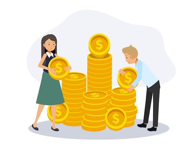 Мужчина и женщина, помогая друг другу экономить деньги, женщина, несущая монету. финансовая концепция сбережений. плоские векторные иллюстрации персонажа из мультфильма.