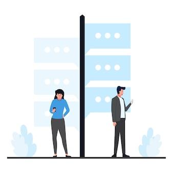 男性と女性は、オンライン会話の道標のメタファーの横に電話スタンドを持っています。