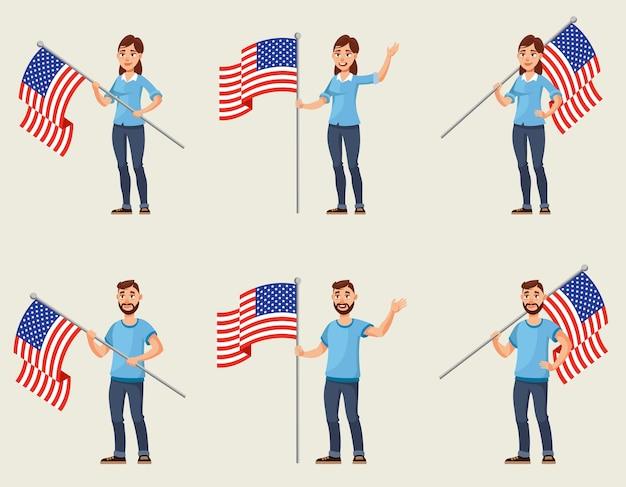 미국 국기를 들고 남자와 여자입니다. 다른 포즈의 남성과 여성 캐릭터.