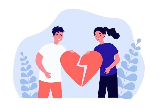 壊れた心を一緒に保持している男性と女性。 2人の元笑顔のパートナーフラットベクトルイラストの分割。バナー、ウェブサイトのデザイン、またはランディングウェブページの愛、離婚、再会、関係の概念