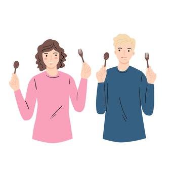 Мужчина и женщина, держащая ложку и вилку. симпатичная плоская иллюстрация