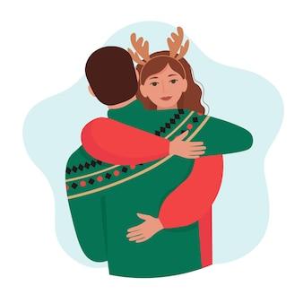 Мужчина и женщина обнимаются влюбленная пара в теплой зимней одежде изолировала иллюстрацию в плоском стиле