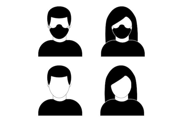 의료용 얼굴 보호 마스크를 쓴 남자와 여자. 질병, 질병에 대한 그림입니다. 보호 수술 마스크를 착용하는 사람들의 벡터 아이콘입니다.