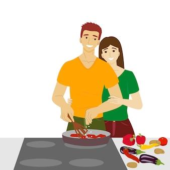 부엌에서 남자와 여자 채식주의 남자 스톡 벡터 요리 야채에서 음식을 준비