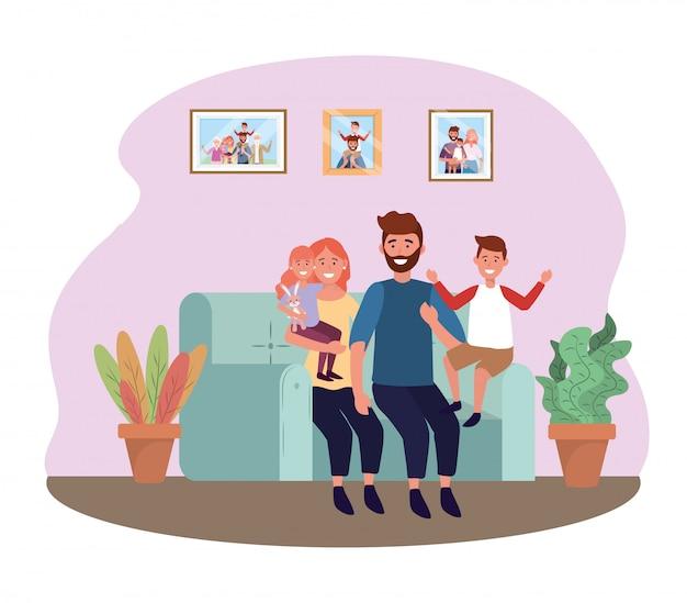딸과 아들과 함께 소파에 남자와 여자